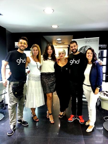 En la foto el equipo ghd con Laura Carandini de ghd y Mayka de Lujosa Barcelona y Neomoda